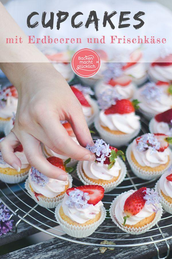 Diese wunderschönen Erdbeer-Cupcakes mit Mascarpone sind definitiv ein …   – Muffins & Cupcakes Rezepte
