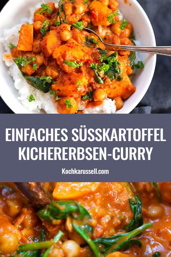 Süßkartoffel-Kichererbsen-Curry mit Spinat