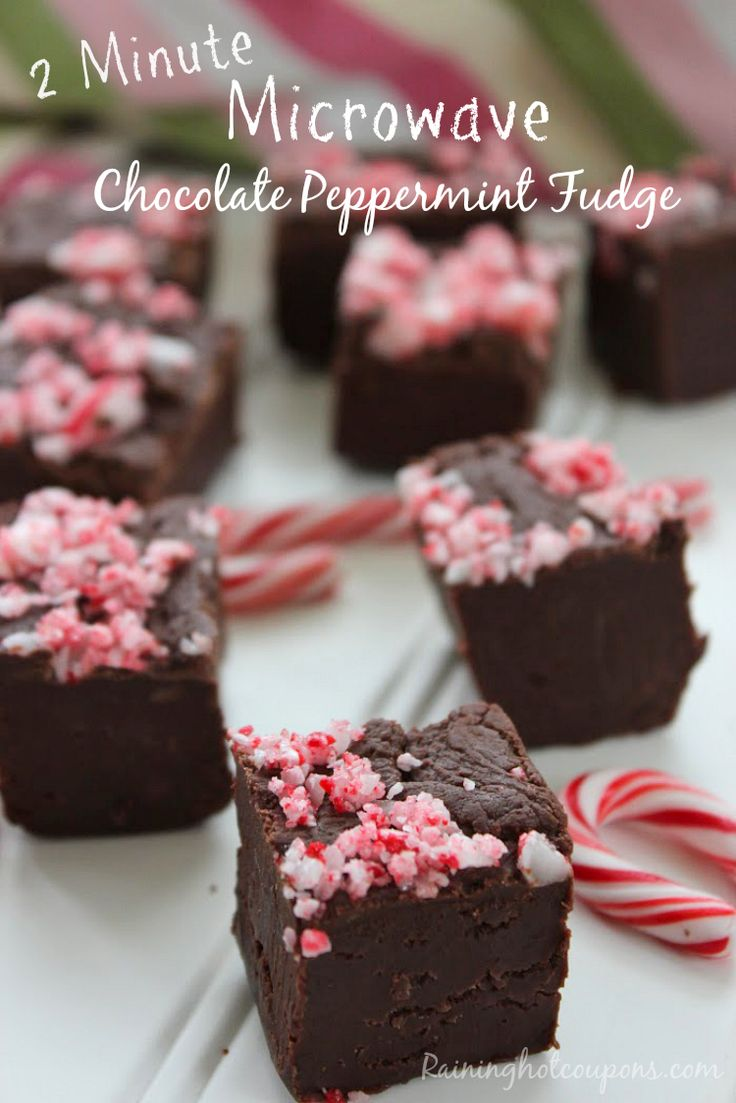 Peppermint fudge Microwave Chocolate Peppermint Fudge (Takes 2 Minutes!)