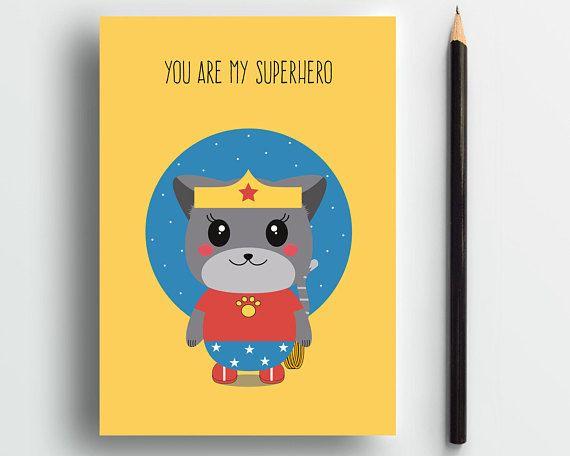 Wondercat, Superhero card, cute cat card, cat lover card, sweet card, cat lady card, cute animal card, cute love card, mom cat, pets card