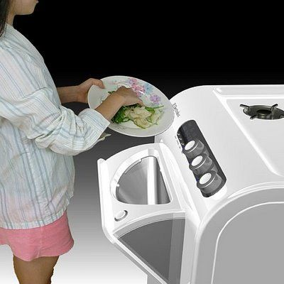 Hybrid Gas Range is an innovative concept that uses food garbage as an alternate fuel for the gas range.