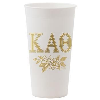 Kappa Alpha Theta Sorority White and Gold Tumbler - Brothers and Sisters' Greek Store