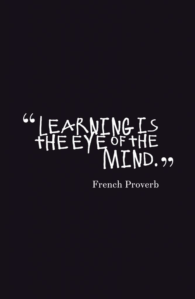 Learning Is The Eye Of The Mind.-French Proverb