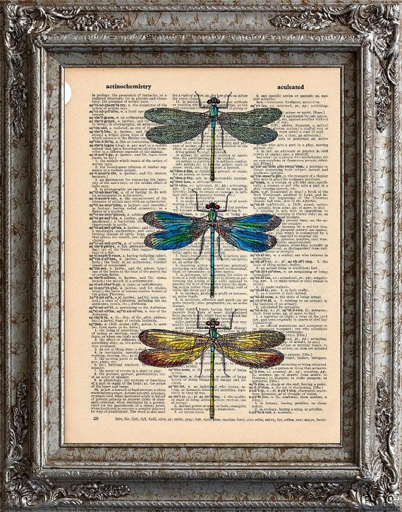 Dragonflies 2 on Vintage Upcycled Dictionary Page Book Art Print Recycled Repurposed on Etsy, $10.00