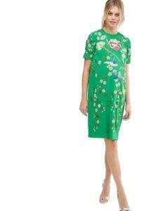 Зеленое платье с цветами для беременных Asos Maternity