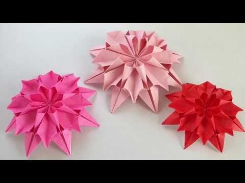 折り紙1枚で12枚の花びらのダリヤ【origami Flower】 - YouTube