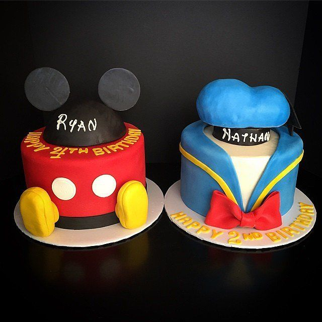 Sweet For Siblings: A pair of brothers' cakes received the classic Disney treatment, masquerading as Mickey and Donald!