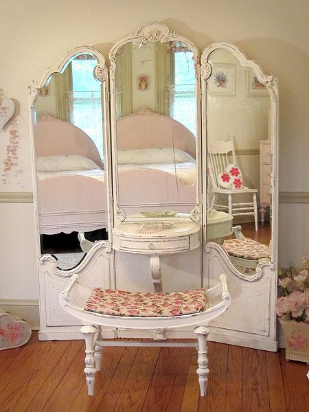 Extremely Rare White Antique Vanity with Etched Beveled Mirrors and Bench