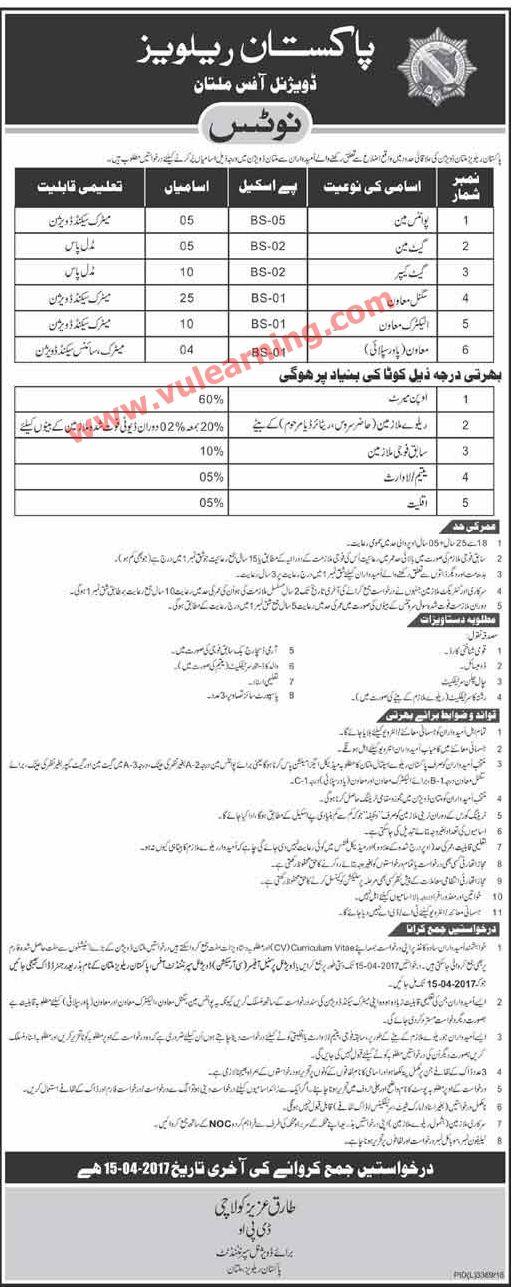 Pakistan Railways Multan Jobs 15.04.2017