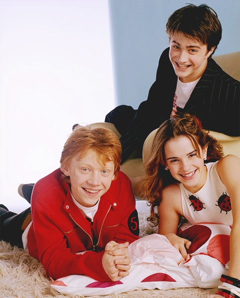 the 3 biggest stars in Harry Potter- Daniel Radcliffe, Rupert Grint, and Emma Watson