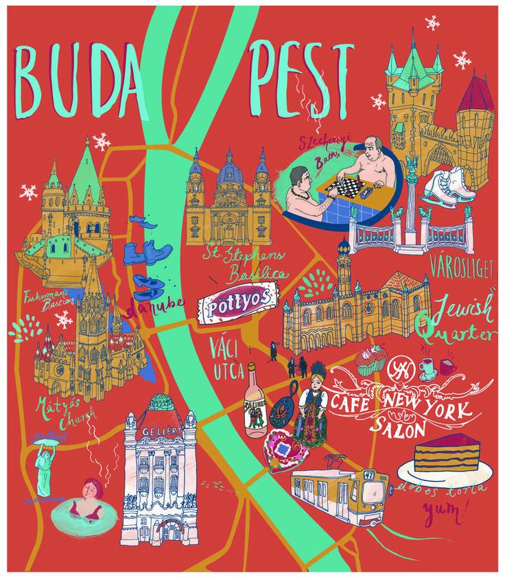 Budapest map - Sia Tzavalas Illustration