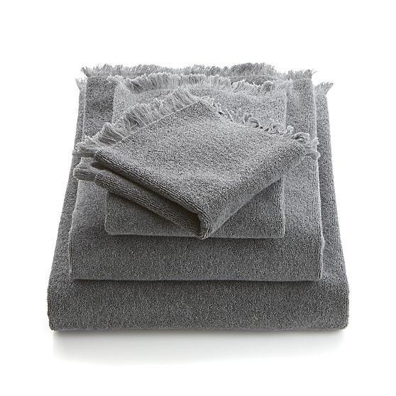 Fringe Grey Bath Towels  | Crate and Barrel