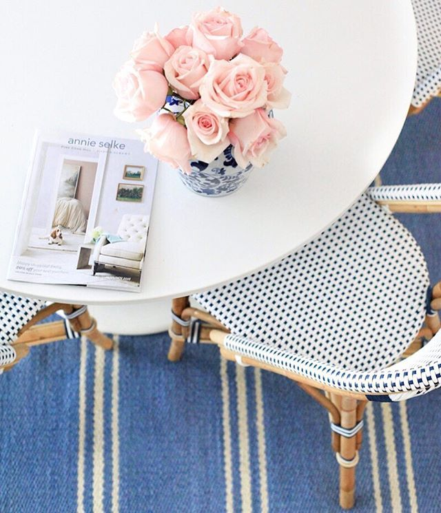 Spent my sick day perusing the new @annieselke catalog in our finally finished breakfast nook Order yours at annieselke.com/request-a-catalog/ #AnnieSelke #AnnieSelkeStyle #DashandAlbert (PS my rug is from there!)