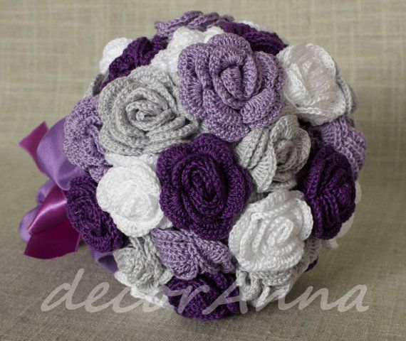 Violet wedding eco bouquet by DecorAnna on Etsy, $160.00:
