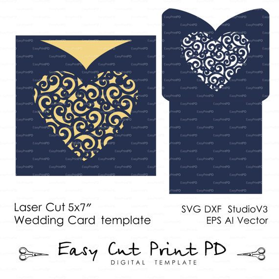 246 best wedding invitation templates cutting files svg dxf envelope lace swirl heart wedding card invitation template svg dxf ai eps png laser cut pattern stencils digital download stopboris Image collections