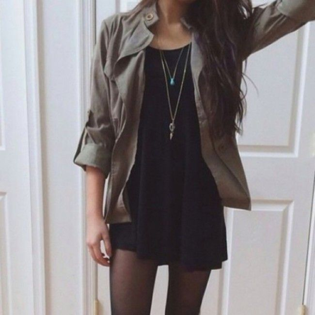 Grunge Stockings with Leather Jacket