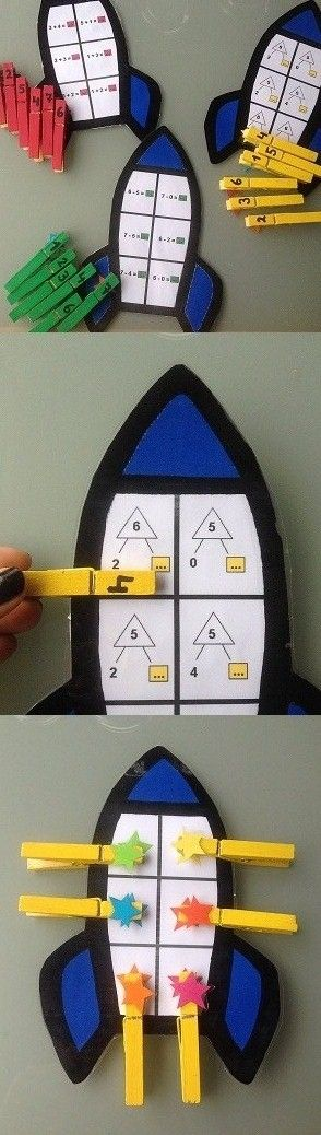 Getallen splitsen: De leerlingen kunnen op een leuke manier getallen splitsen. De raketten spreekt de leerlingen meer aan dan een simpel wit A4-blad.
