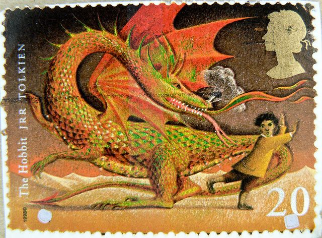 beautiful english stamp England 20p United Kingdom Great Britain Hobbit dragonKingdom postage revenue