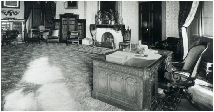 The Resolute desk in the Oval office, a gift from Queen Victoria