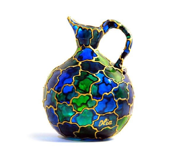 Florero jarra vidrio pintado, verde esmeralda de la mano