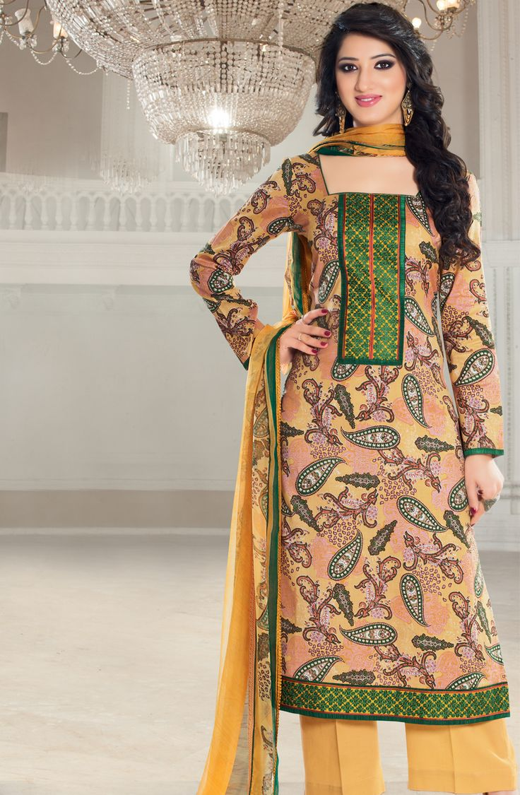 Buy Yellow Un-stitched Glaze Cotton Salwar Suit with Embroidered Neckline - SAL16106B - Online at Rs.1550 on Tacfabfashions.com. Type of Work - Top: Printed front and back, printed sleeves, embroidery on neck and bottom hem, Bottom: Plain  Shop here: http://goo.gl/8lCxa4 #SalwarSuits #GlazeCotton #Printed #Embroidered #Unstitched #CasualWear #SummerCollection #Tacfab #TacfabFashions #TacfabSuit #TacfabDressMaterial #TacfabShop #TacfabStore #TacfabOnlineStore