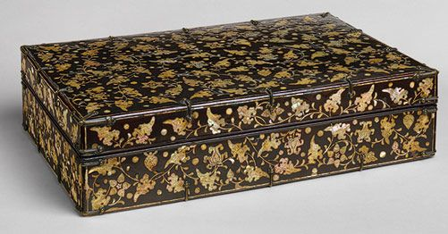 Stationery Box, Joseon dynasty, 15th century  Korea  Black lacquer with mother-of-pearl inlay