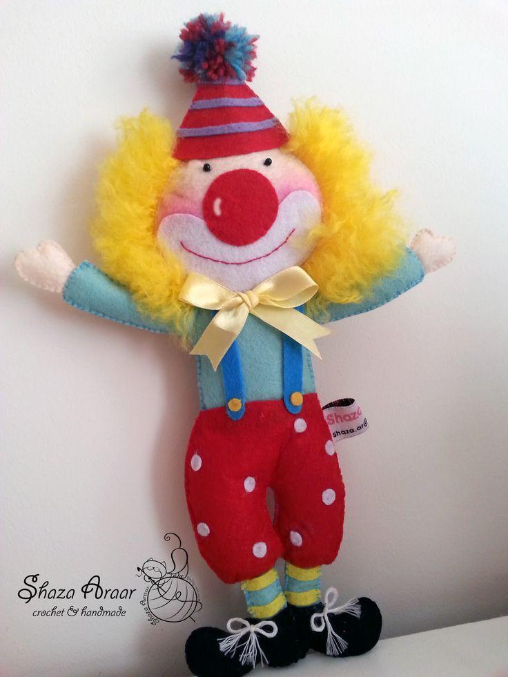 Clown felt  doll **hande made  my work