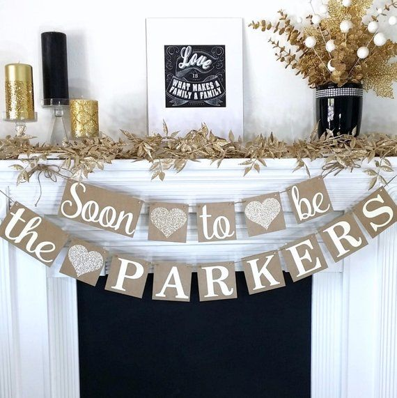 Engagement Banner, Soon to be Banner, Bridal Shower Decor, Rustic, Glitter Engagement Party Decor, W