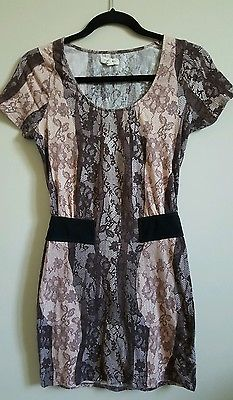 Silence & Noise shortsleeve bodycon floral dress stretch fitted sz small