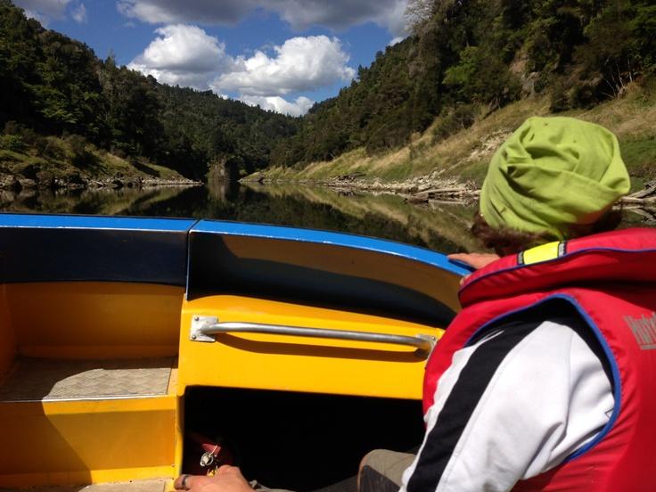 Matt on the jet boat heading back from the Bridge to Nowhere ride