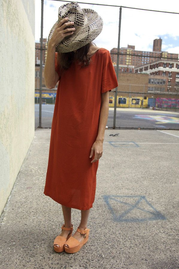 Ibiza T-Shirt Dress in Rust, Maryam Nassir Zadeh.