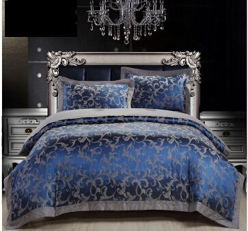 Royal Blue Luxury Duvet Cover Sets 4PC 50% Cotton 50% Satin Bed Sheet Set Jacquard Bedding Set Full/Queen/King Size FreeShipping-in Bedding Sets from Home & Garden on Aliexpress.com | Alibaba Group