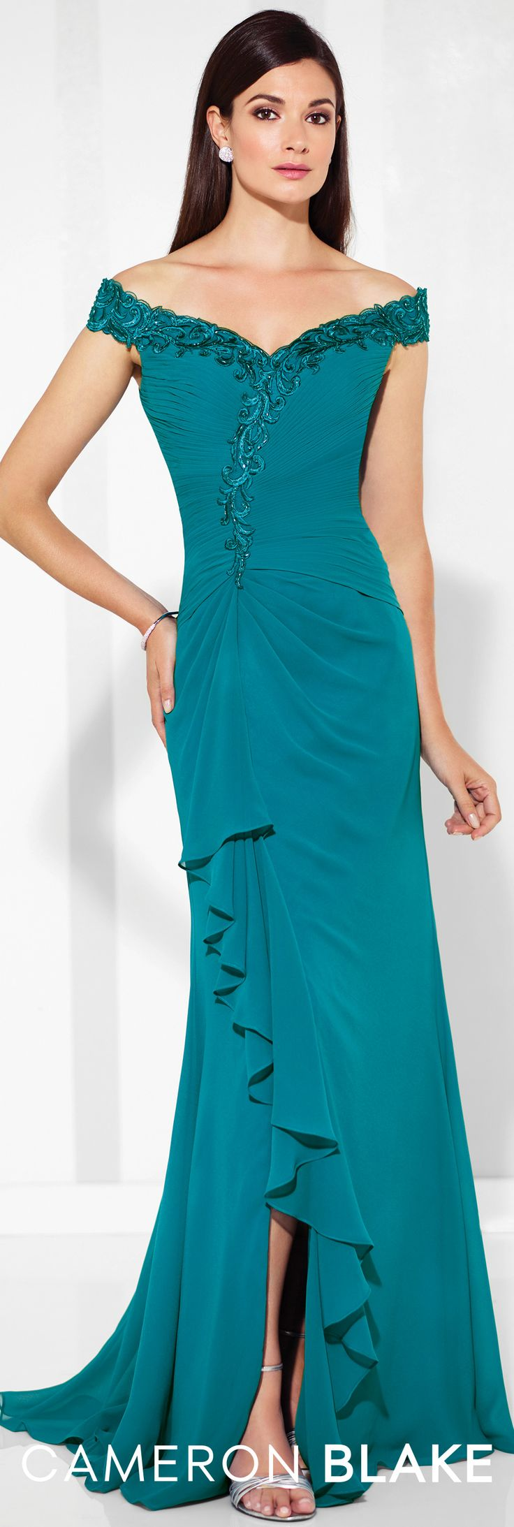 Formal Evening Gowns by Mon Cheri - Spring 2017 - Style No. 117602 - teal off-the-shoulder chiffon evening dress