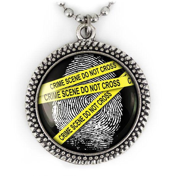 Antique Silver CSI Fingerprint Crime Scene by KKJEWELRYONLINE