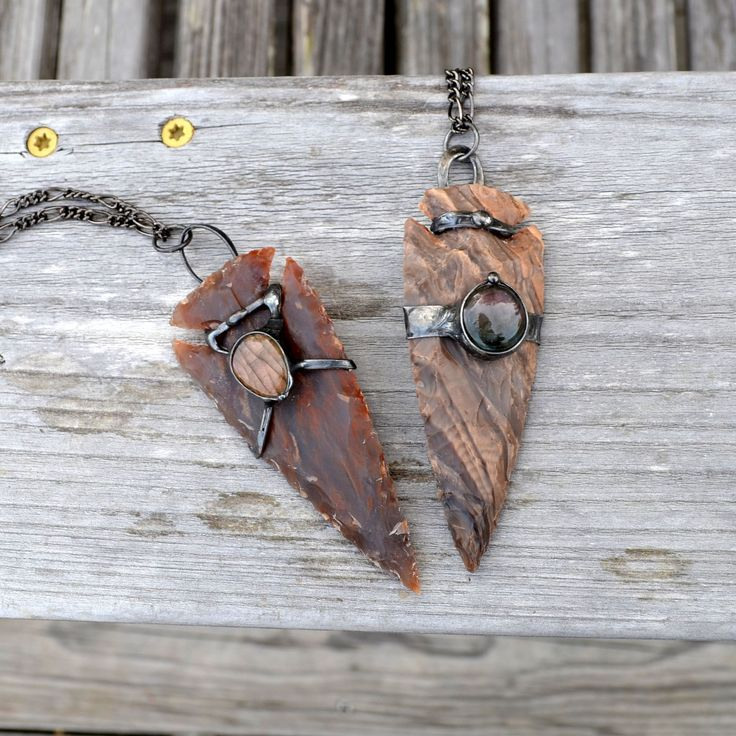 Hand Knapped arrowheads with labradorite insets. These are large and in charge. Check out link for more. :)