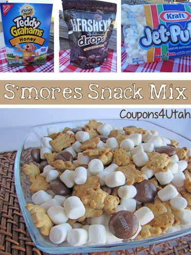 S'mores Snack Mix, the perfect way to enjoy all the flavors of s'mores without the hassle and mess of a campfire! National S'mores Day - Coupons4Utah