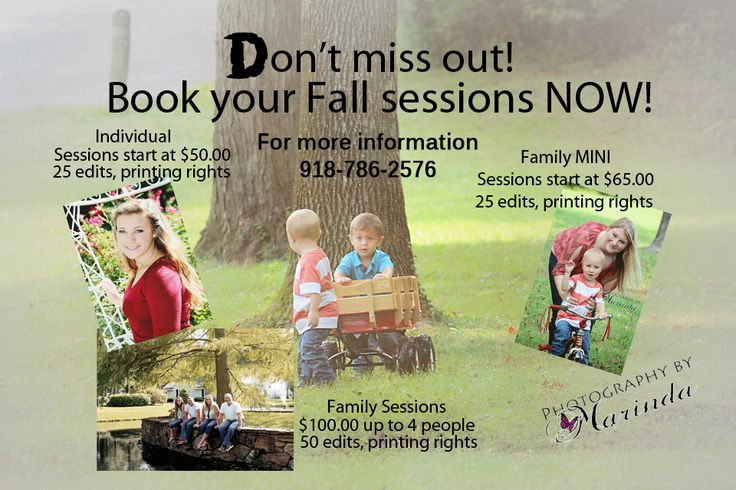 Contact me today to book all your fall photographs sessions!