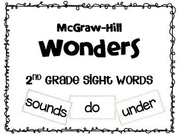 This file includes word cards for all of the sight words in the McGraw-Hill Wonders 2nd grade series. Place a magnet or velcro on the back for an interactive word wall or focus wall! Place in a pocket chart for weekly skills! Make multiple copies and place cards on a ring for