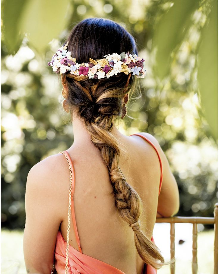 Perfecto peinados con tocado Fotos de cortes de pelo Ideas - Trenzas con tocado de flores   Peinados para boda, Trenzas ...