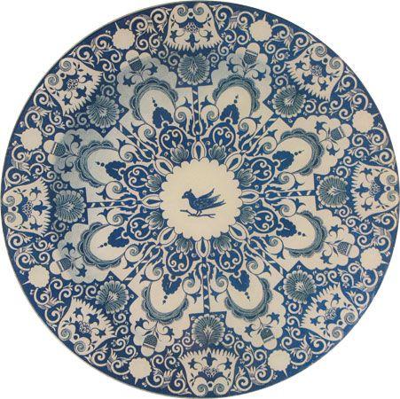 John Derian's Faience Blue Bird Plate