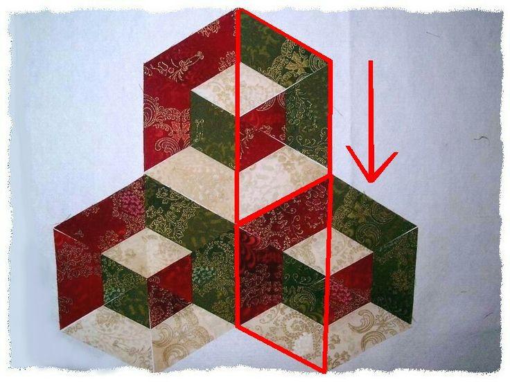 Diamant Variation of Tumbling Blocks - strips of triangles...