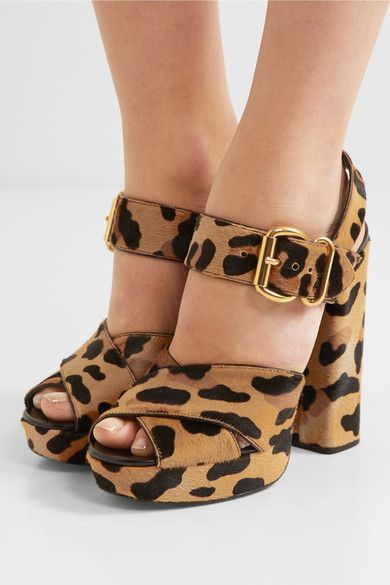 Heel measures approximately 130mm/ 5 inches with a 25mm/ 1 inch platform  Leopard-print calf hair Buckle-fastening ankle strap Made in Italy