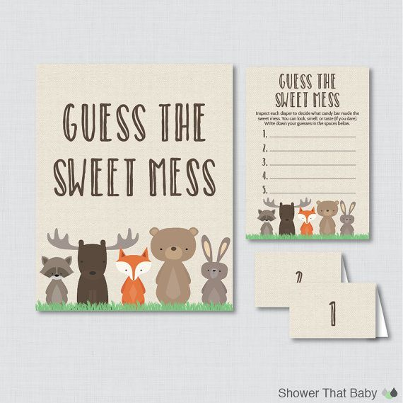 Woodland Baby Shower Diaper Candy Bar Game Printable Guess The Sweet Mess - Game Cards, Sign and Labels Candy Bar Diaper Game - Burlap 0010