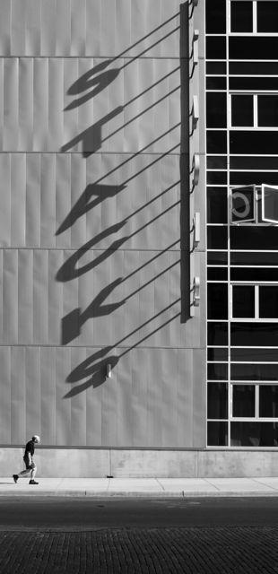 : Stacks Sign, Wayfinding Signage, Shadows Architecture, Captured Shadows, Shadow Signage, Black White, Photography