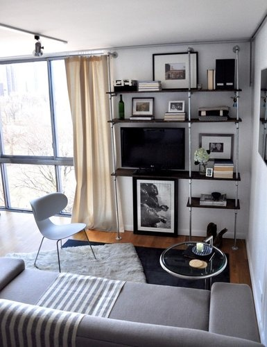 small wall for tvBig House, Lake Michigan, Small Living Room, Liz Lights, Apartments Therapy, Wall Shelves, Lakes Michigan, Small Spaces, Pipe Shelves