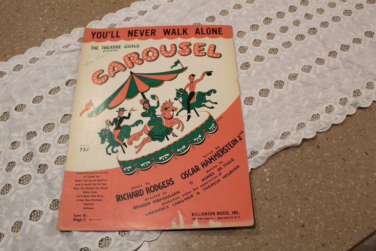 Vintage Sheet Music- Carousel Musical -You'll Never Walk Alone -music by Richard Rodgers lyrics by Oscar Hammerstein 2nd by ScrapPantry, $4.00 USD