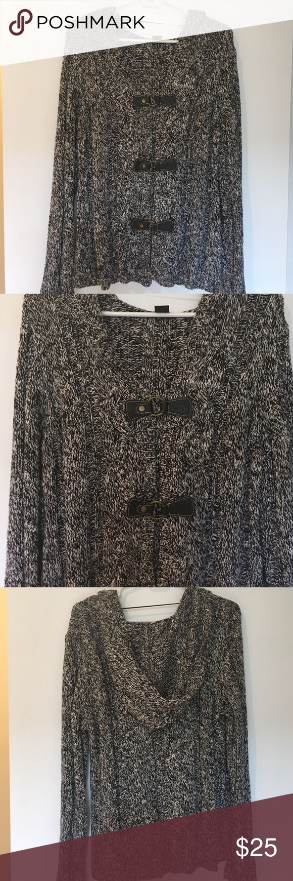 Style & Co Black and White Cardigan Black and white button/clasp closure. Great for layering on a chilly night. 66% Cotton 34% Acrylic Style & Co Sweaters Cardigans