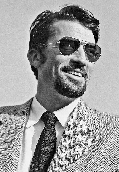 True style comes from within and lasts forever. Gregory Peck wearing aviator sunglasses, 1948.