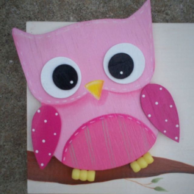 Painted wooden owl
