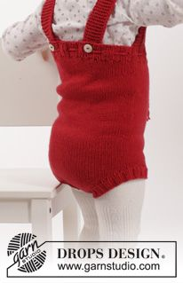 "Set consists of: Knitted DROPS play suit, socks and bonnet in ""Cotton Merino"". Size 1-18 months ~ DROPS Design"